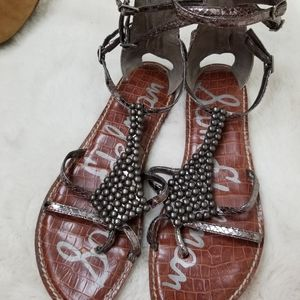 Sam Edelman Ginger pewter gladiator sandals